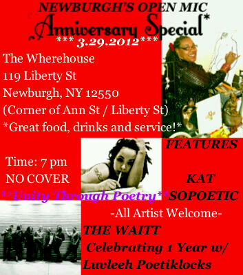 MARCH 29th 2012 Newburgh's Open Mic 7 pm No Cover